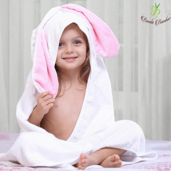Bamboo Baby Hooded Towel - Rosie Bunny - Roll Up Baby