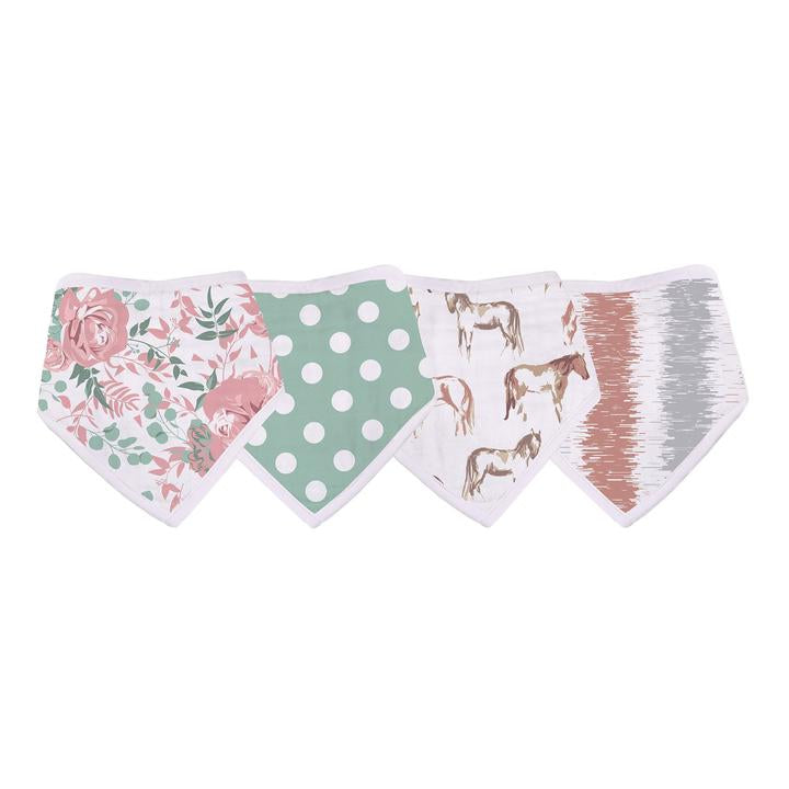 Bandana Bibs for Babies Horses and Roses - Roll Up Baby