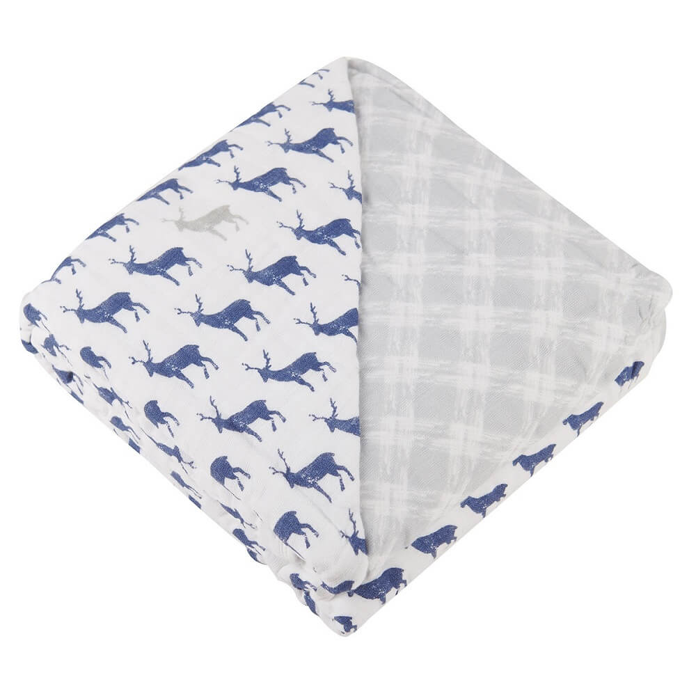 Baby Muslin Blanket - Blue Deer and Glacier Grey - Roll Up Baby