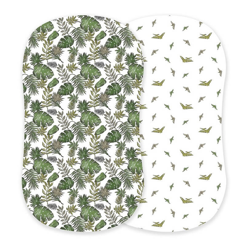 Boy Bassinet Sheets - Jurassic Forest and Pteranodon - Roll Up Baby