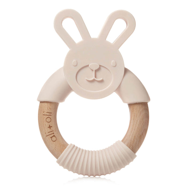 Bunny Silicone and Wood Teether - Soft Pink - Roll Up Baby