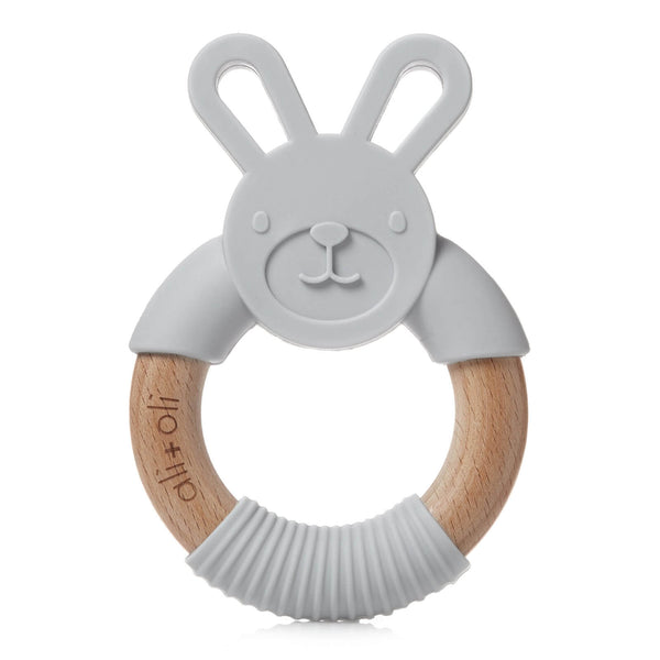 Bunny Teether Silicone and wood - Soft Grey - Roll Up Baby