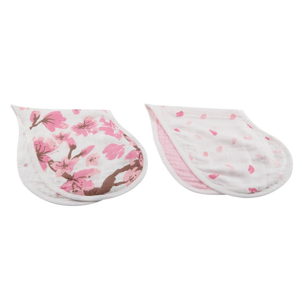 Organic Bamboo Muslin Bibs Set of 2 - Cherry Blossom Heart - Roll Up Baby