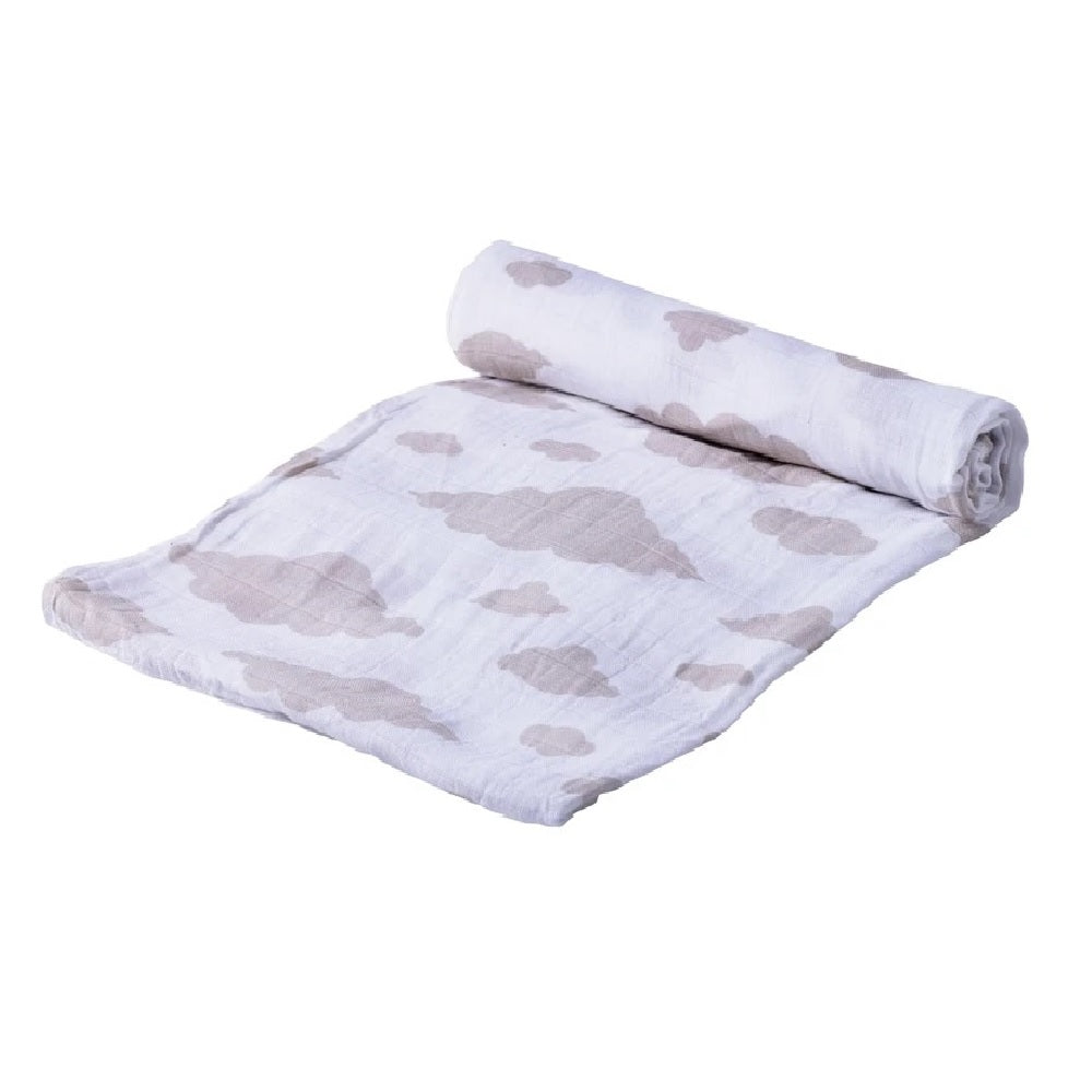 Baby Muslin Swaddle - Cloud Print - Roll Up Baby