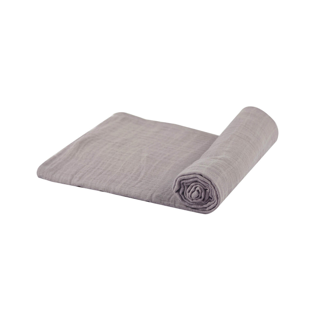 Muslin Swaddle Blanket - Cool Grey - Roll Up Baby