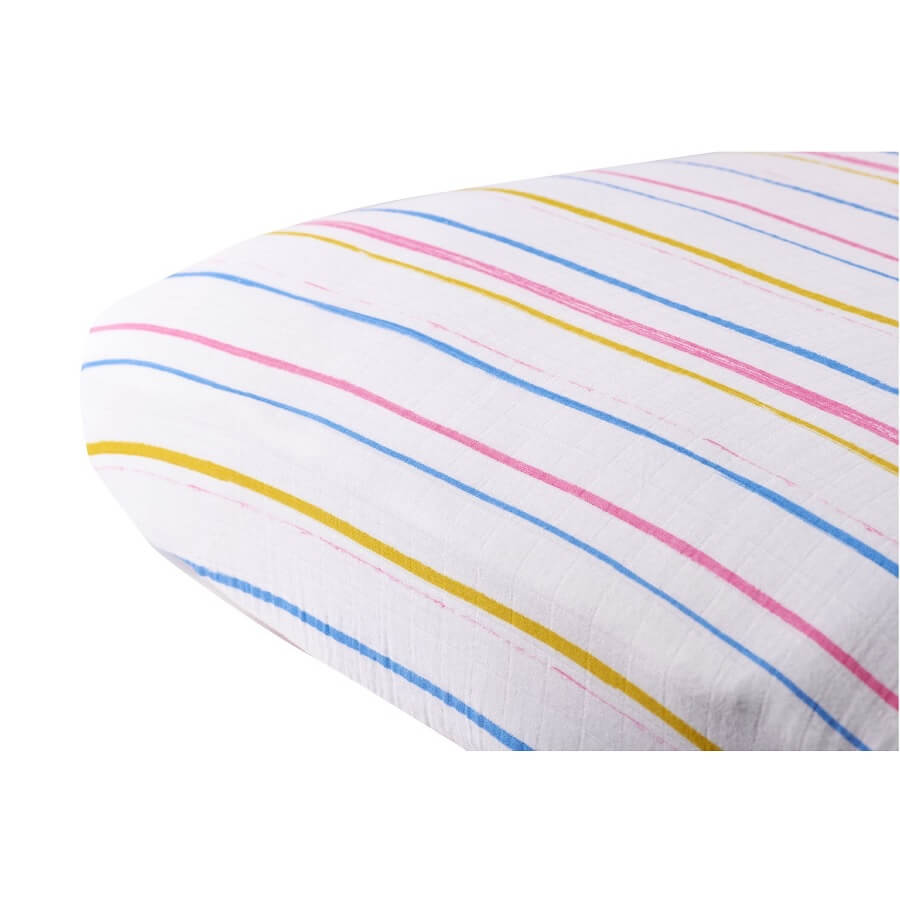 Cotton Crib Sheet - Spring Time Stripe - Roll Up Baby