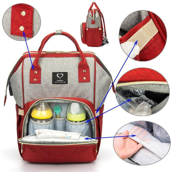 Diaper Bag Backpack USB Earphone Interface - Roll Up Baby
