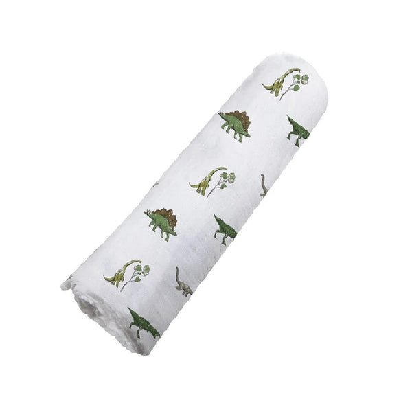 Organic Muslin Swaddle Blanket - Dino Days - Roll Up Baby