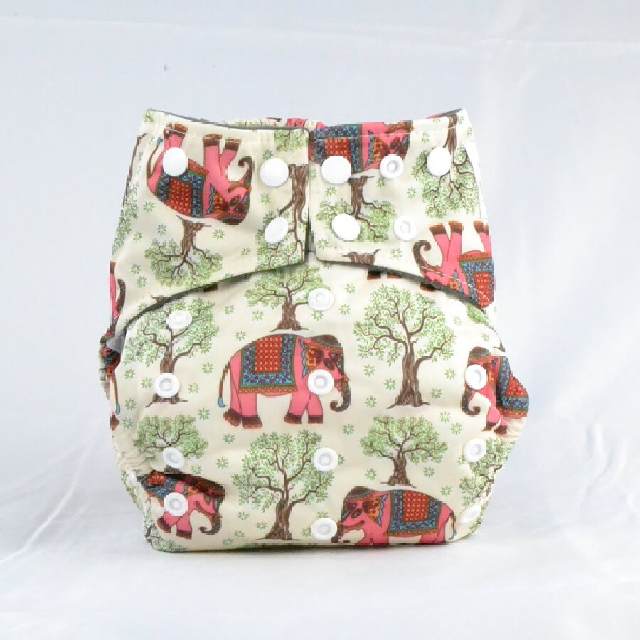 Earthlie Cloth Diaper - Elephants - Roll Up Baby