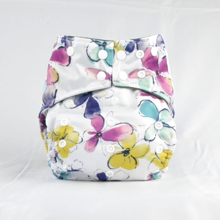 Earthlie Cloth Diaper - Pastel Flowers - Roll Up Baby