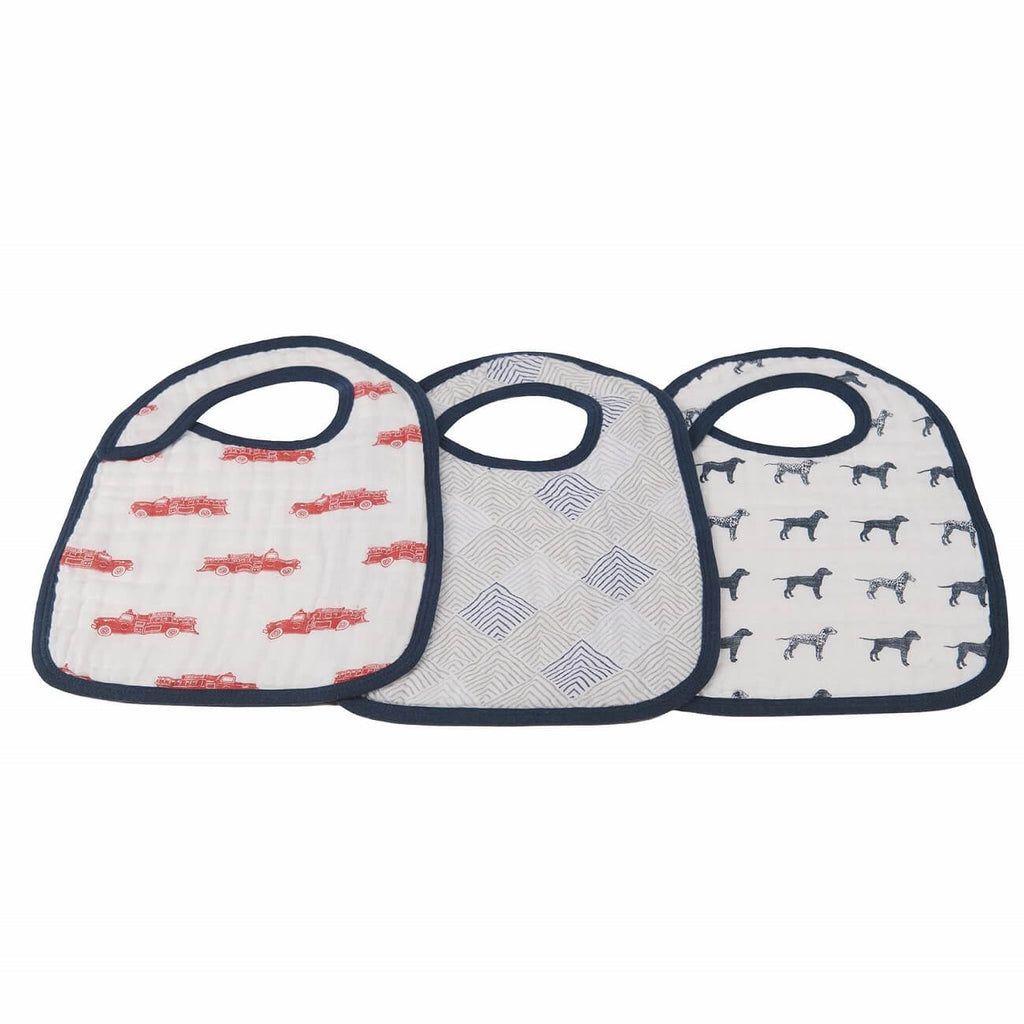 Muslin Bibs Set of 3 - Fire Truck and Dalmatian - Roll Up Baby