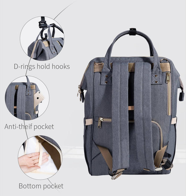 Fish-Opening Diaper Bag Backpack USB - Roll Up Baby