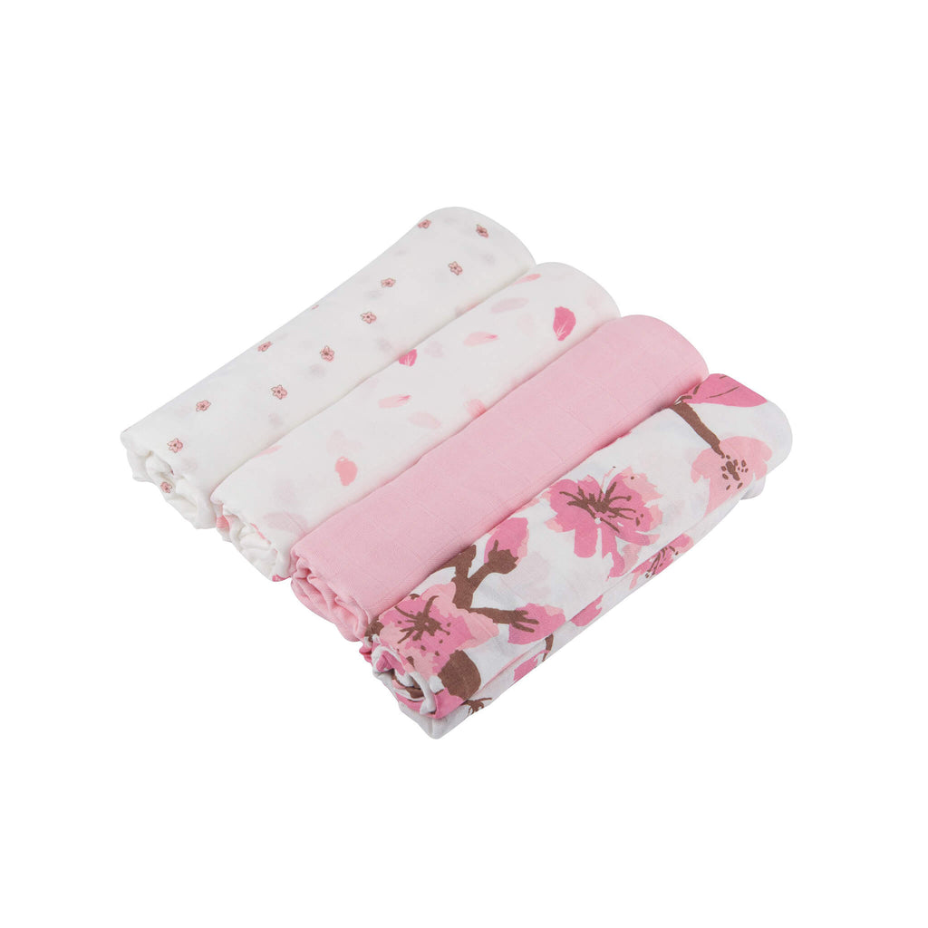 Bamboo Swaddle Set 4-Pack - Flower - Roll Up Baby