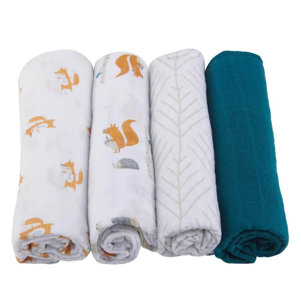 Muslin Swaddle Set 4-Pack - Forest Friends - Roll Up Baby