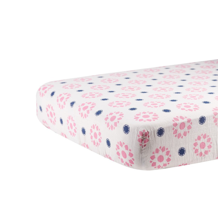 Girl Crib Sheet - Primrose and Indigo - Roll Up Baby