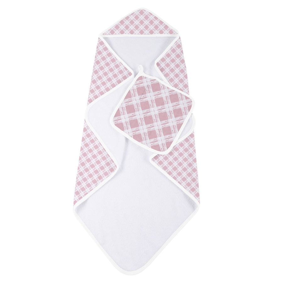 Girl Hooded Towel and Washcloth - Pink Plaid - Roll Up Baby