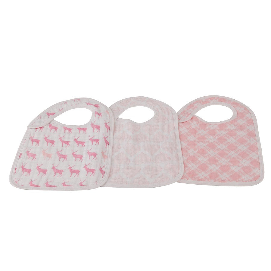 Girl Snap Bibs Set of 3 - Pop Of Pink - Roll Up Baby