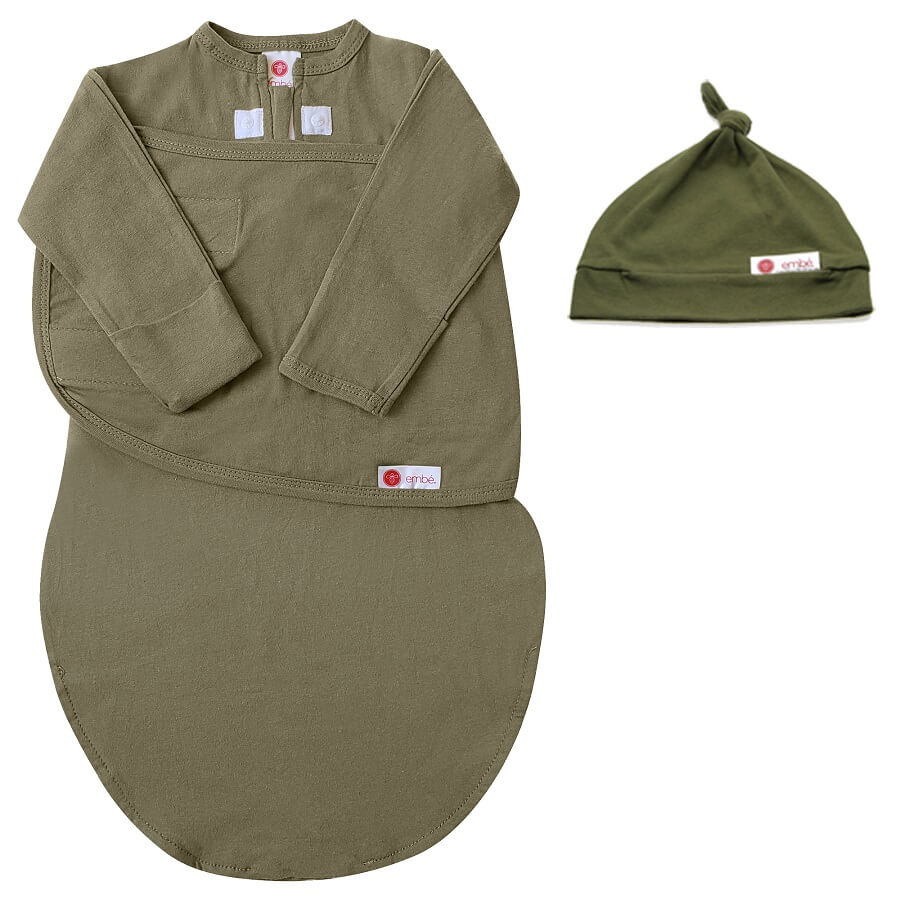 Hat & Starter Long Sleeves Swaddle Bundle - Moss - Roll Up Baby