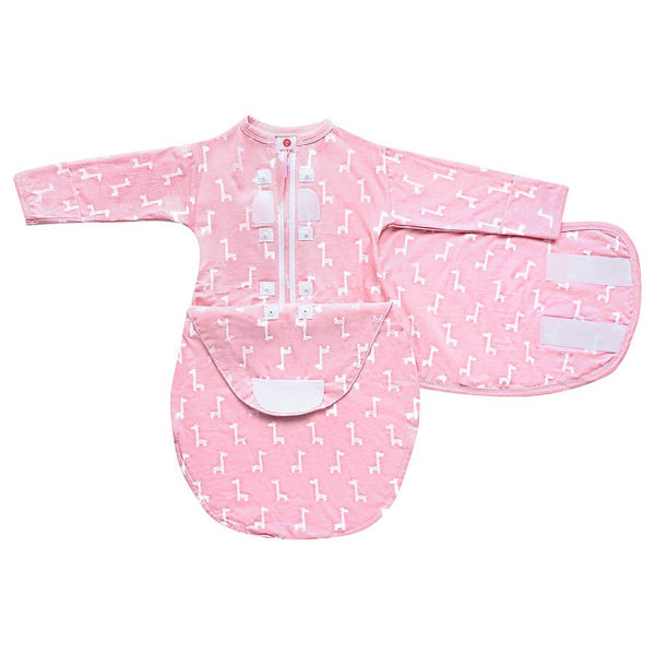 Hat & Starter Long Sleeves Swaddle Bundle - Pink Giraffes - Roll Up Baby