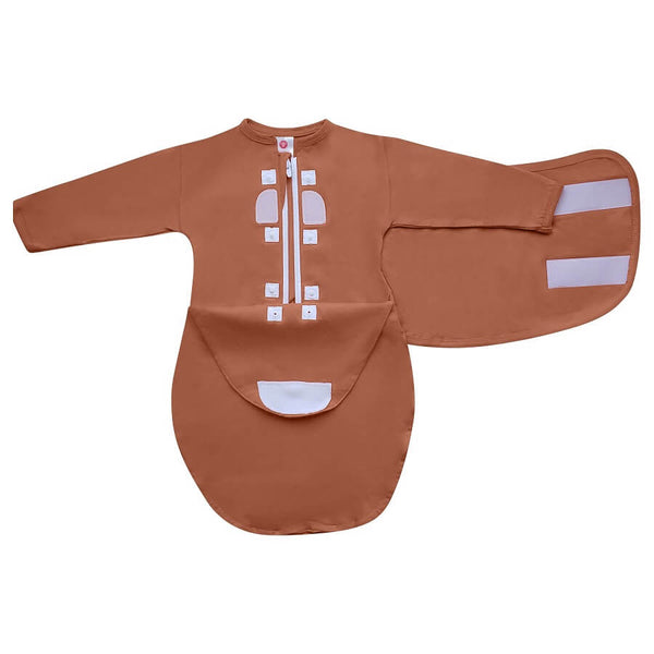 Hat & Starter Long Sleeves Swaddle Bundle - Sand - Roll Up Baby