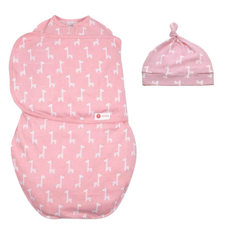 Hat & Starter Swaddle Original Bundle - Pink Giraffes - Roll Up Baby
