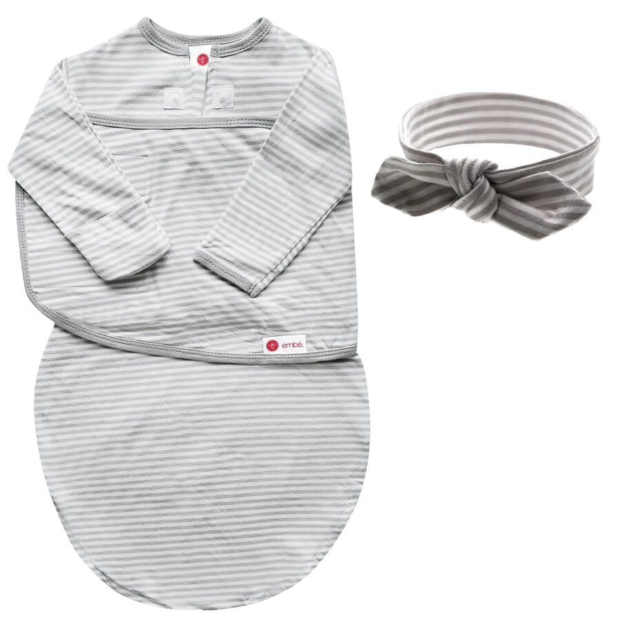 Headband & Swaddle with Long Sleeves Bundle - Gray Stripe - Roll Up Baby