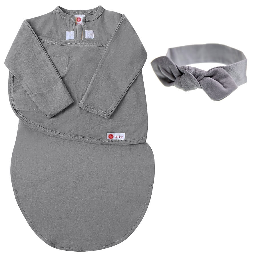 Headband & Swaddle with Long Sleeves Bundle - Slate - Roll Up Baby