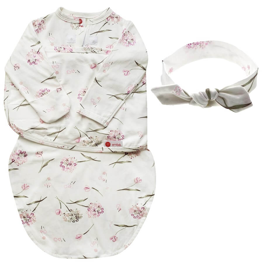 Headband & Long Sleeves Swaddle Bundle - Clustered Flowers 💐 - Roll Up Baby