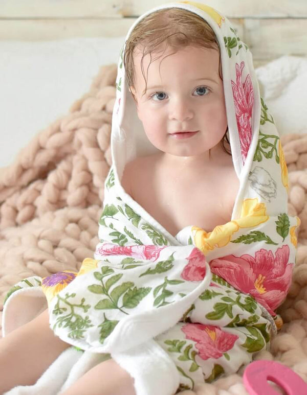 Baby Bamboo Hooded Towel, Double Layers of Muslin - Roll Up Baby