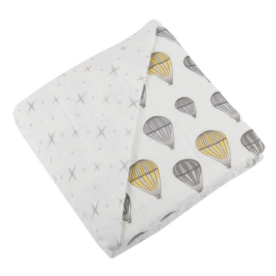 Baby Bamboo Blanket - Hot Air Balloon and Northern Star - Roll Up Baby