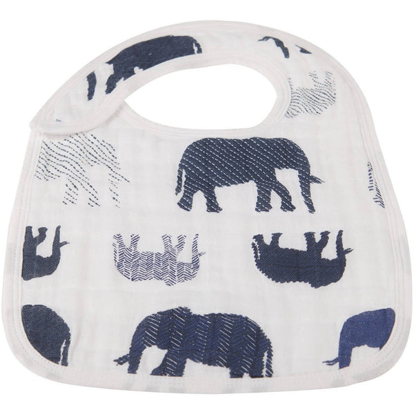 Muslin Bibs Set of 3 - In The Wild Elephant Snap - Roll Up Baby