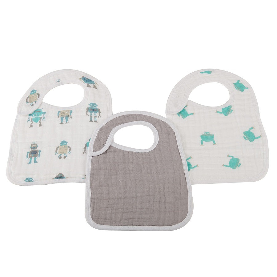 Infant Snap Bibs Set of 3 - Robot - Roll Up Baby