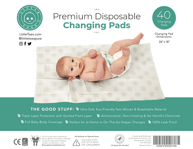 Little Toes Disposable Changing Pads - Roll Up Baby