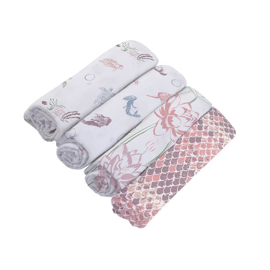 Modern Swaddle Blankets Pack of 4 - Under The Sea - Roll Up Baby