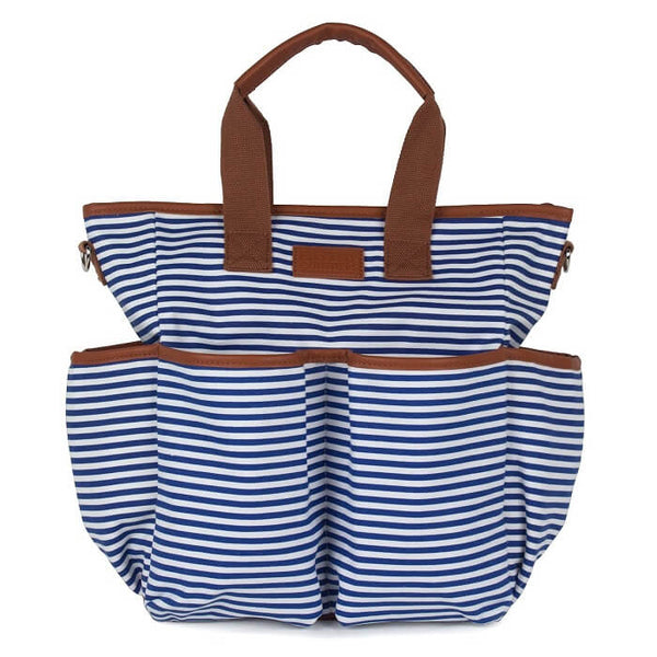 Mom Canvas Diaper Bag - Blue Striped - Roll Up Baby