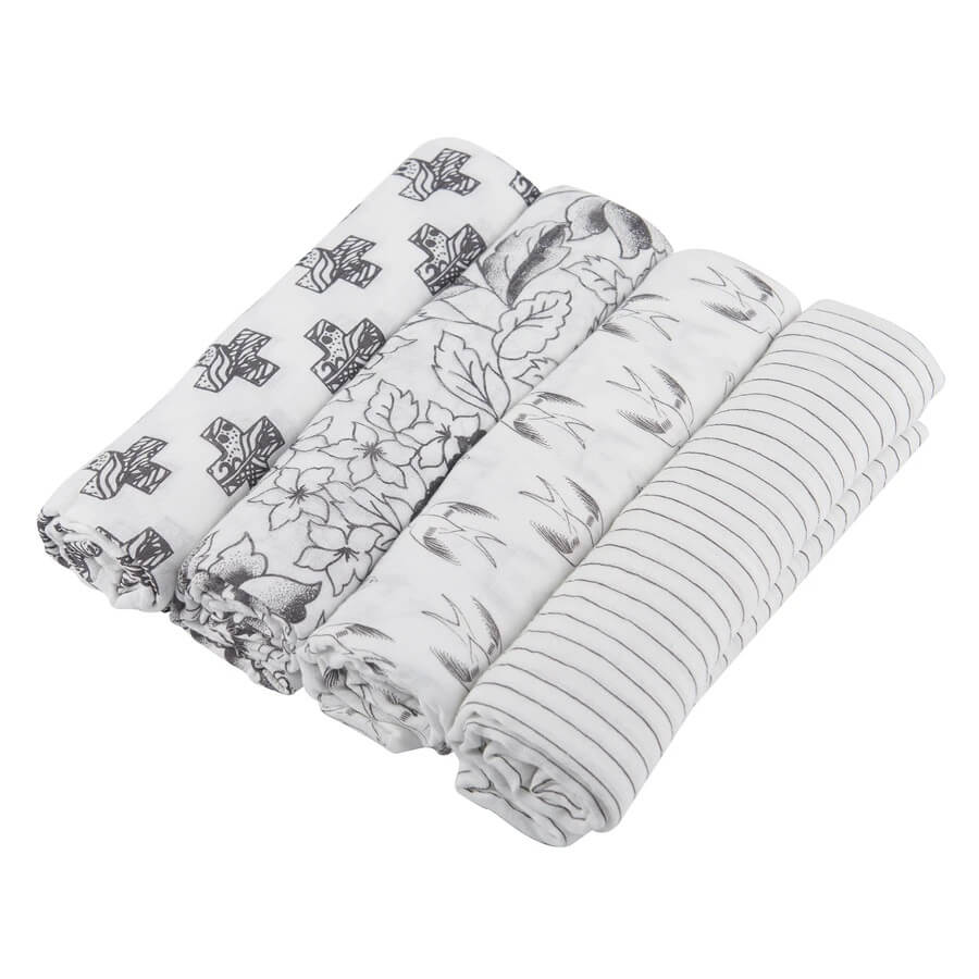Natural Bamboo Swaddle Pack 4-Pack - Monochrome - Roll Up Baby
