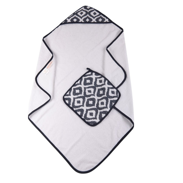 Muslin Hooded Towel and Washcloth - Moroccan Blue - Roll Up Baby