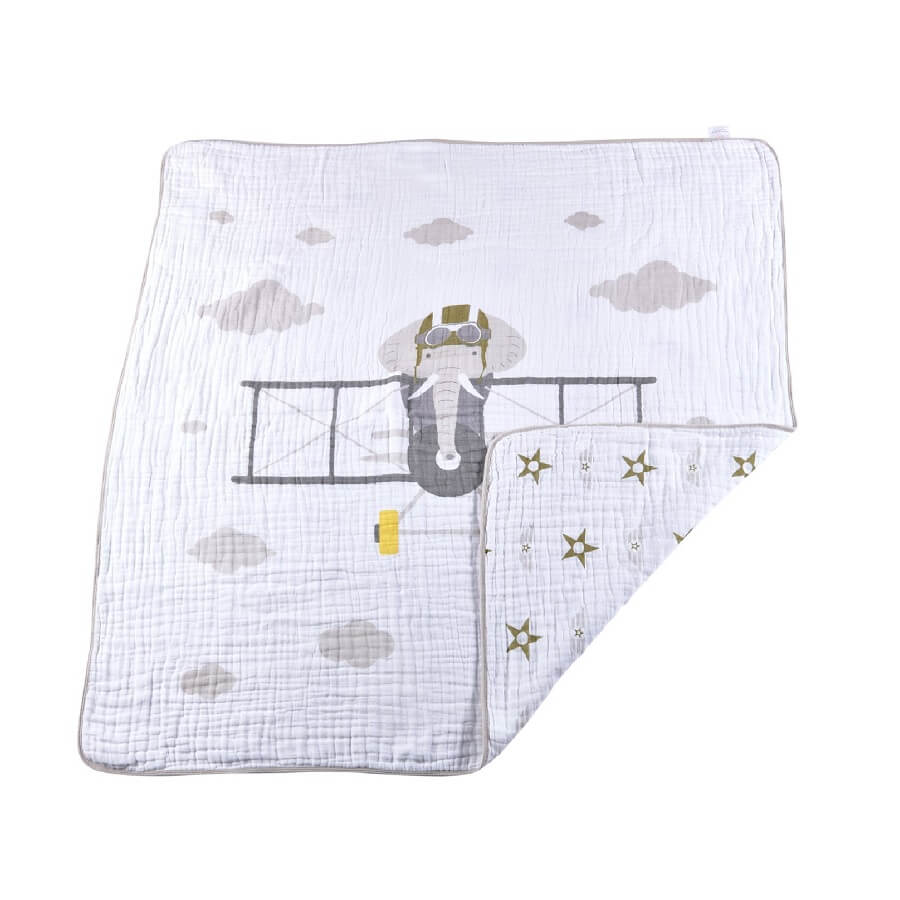 Muslin Blanket - Flying Elephant - Roll Up Baby