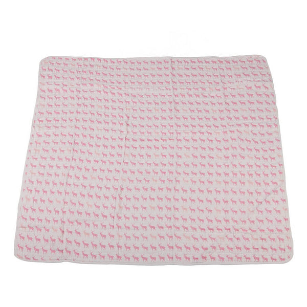 Muslin Blanket - Pink Deer & Primrose Pink Plaid - Roll Up Baby