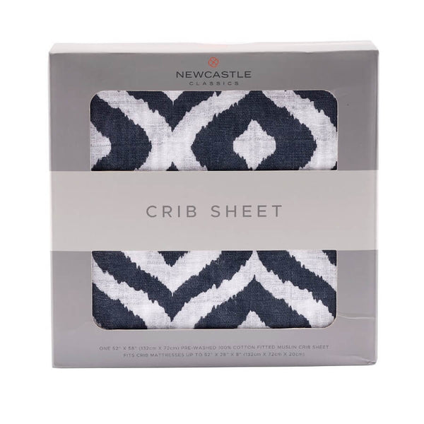 Muslin Crib Sheet - Moroccan Blue - Roll Up Baby