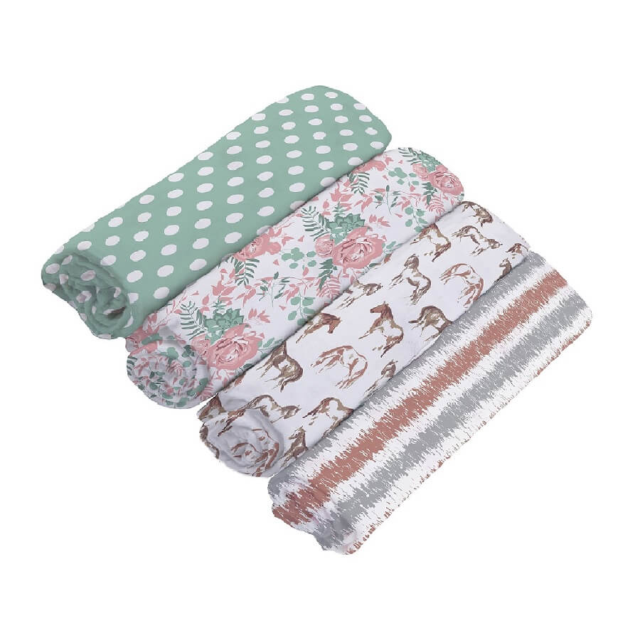 Muslin Swaddle Blankets 4 Pack - Horses and Roses - Roll Up Baby