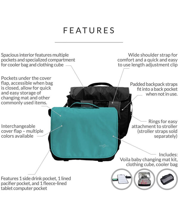 Diaper Messenger Bag | Convertible Backpack | Viola - Roll Up Baby