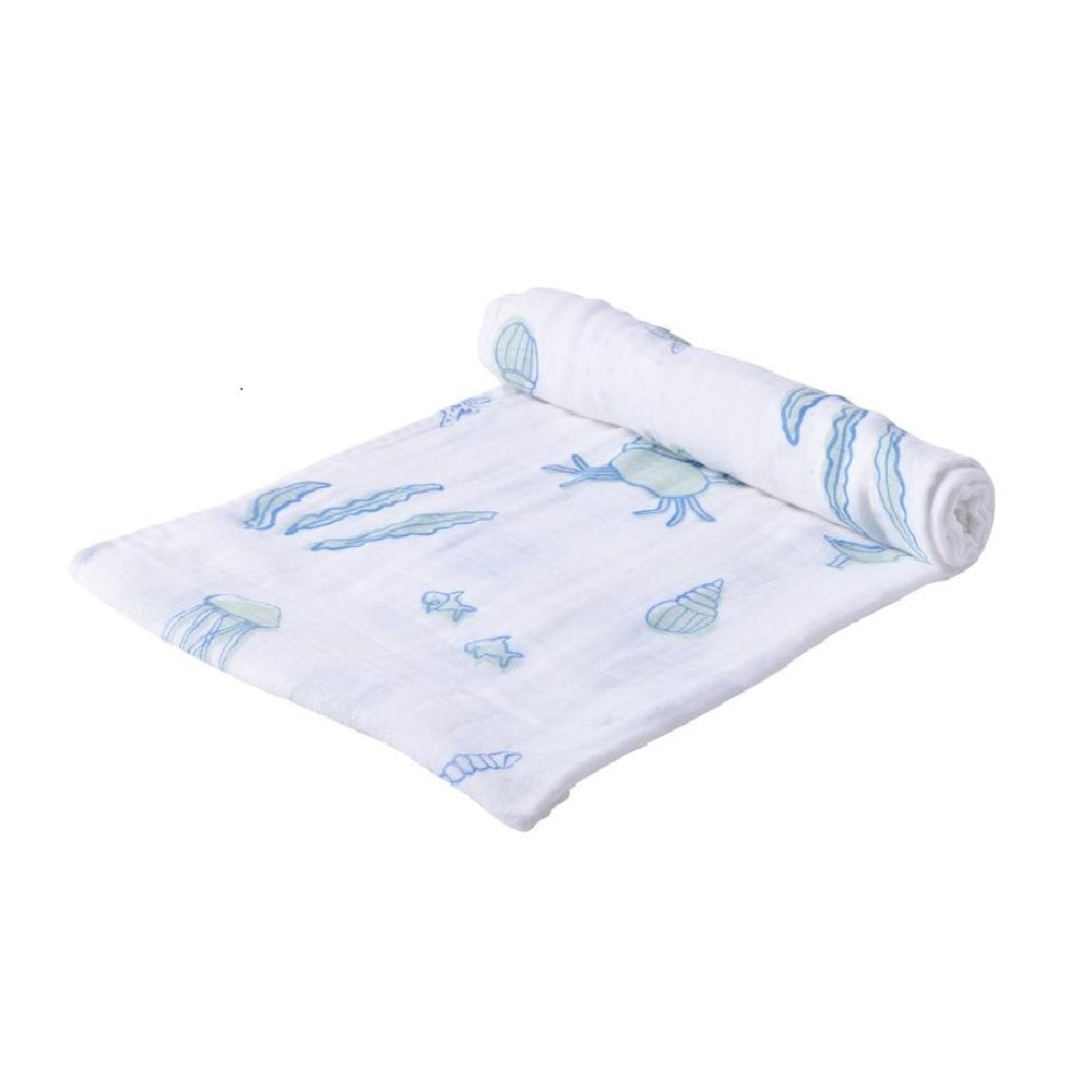 Muslin Swaddle Blanket - Ocean - Roll Up Baby