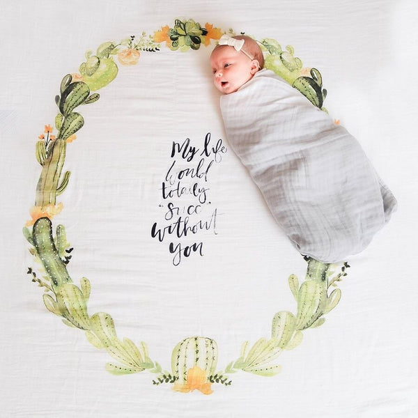 Organic Swaddle Blanket - Desert Cactus - Roll Up Baby
