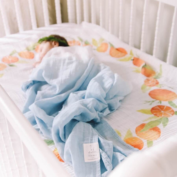 Organic Swaddle Blanket - Sky - Roll Up Baby