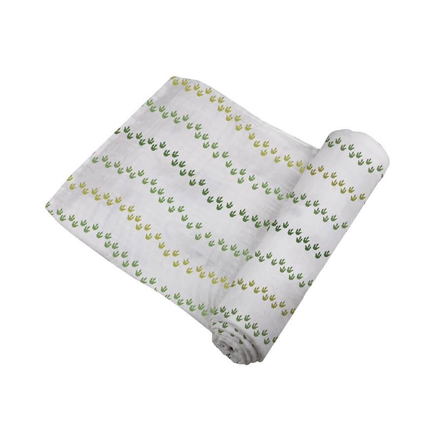 Organic Swaddle Wrap - Dino Feet - Roll Up Baby
