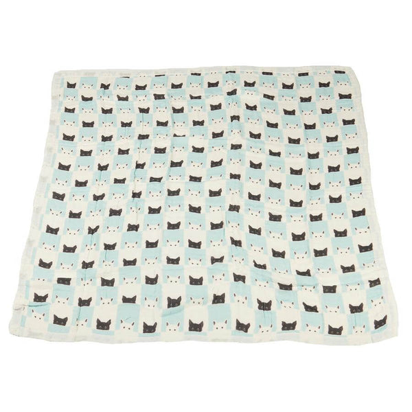 Baby Bamboo Blanket - Peek-A-Boo Cats and White - Roll Up Baby
