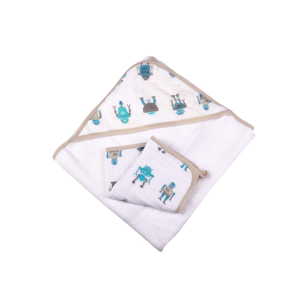 Muslin Hooded Towel and Washcloth Set - Robot - Roll Up Baby