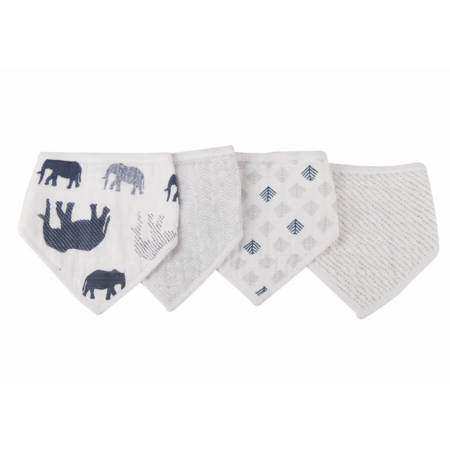 Soft Bibs Pack of 4 - In The Wild Elephant - Roll Up Baby