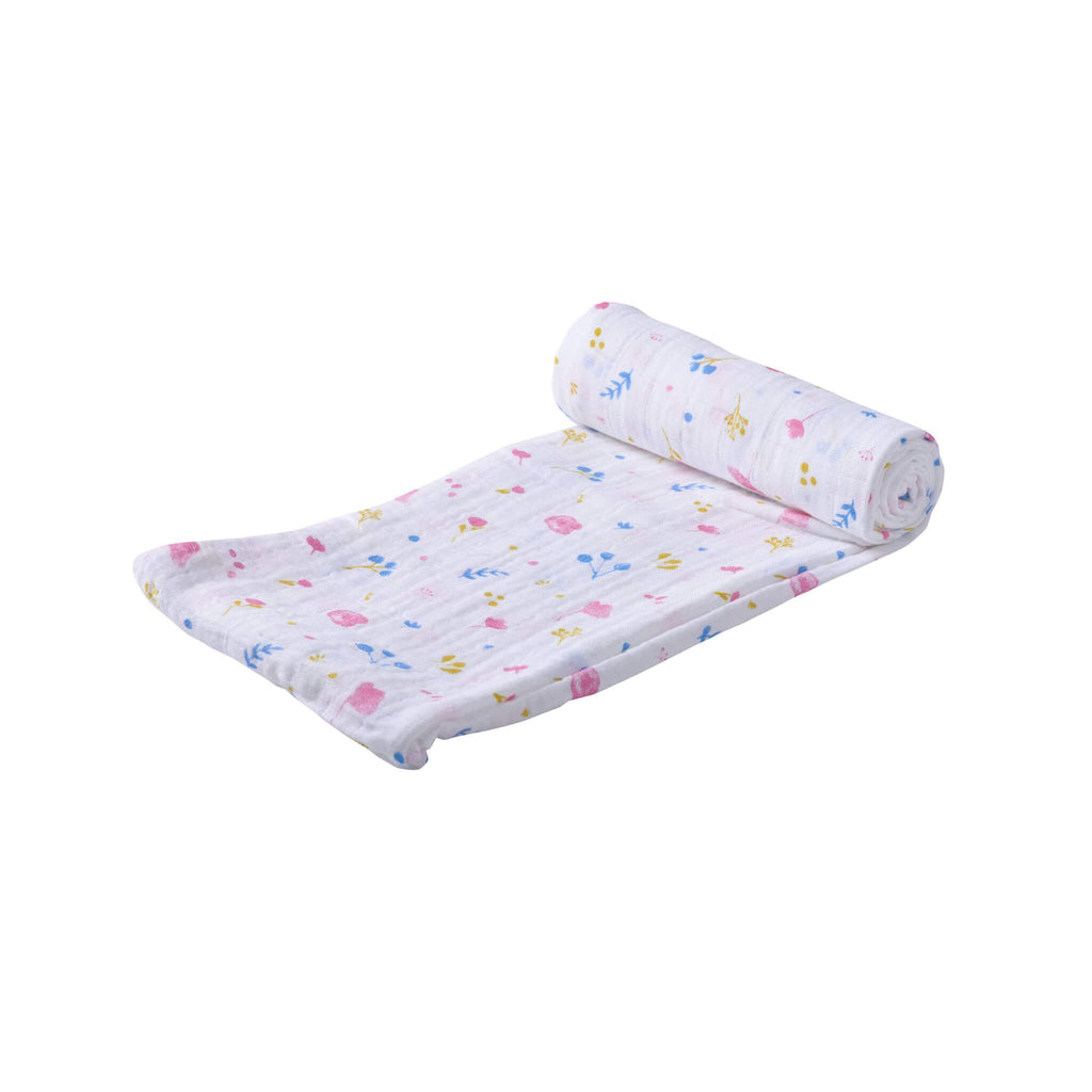 Organic Muslin Swaddle - Spring Time Flower - Roll Up Baby